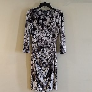 Lauren Ralph Lauren Dress Size 4 black/white/gray